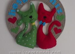Keçe Kedi Aşıklar Kapı Süsü