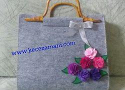 Keçe Çiçek Detaylı Çanta