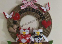 Baykuş Hoşgeldiniz Aile Kapı Süsü