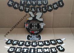 Keçe Beşiktaş Taraftar İkiz Bebek Kapı Süsü (Ege-Efe)