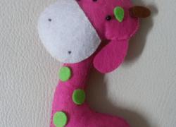 Keçe Zürafa Anahtarlık – Çanta Süsü
