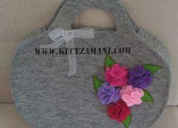 Keçe İşlemeli Rengarenk Çiçek Çanta