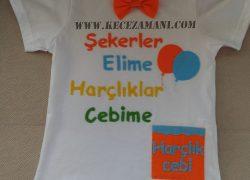 Keçe İşlemeli Renkli  Bayram Tişörtü