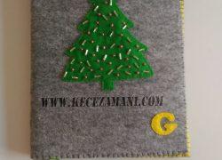 Keçe Kitap Kılıfı Yılbaşı Ağacı( Boncuk İşlemeli)