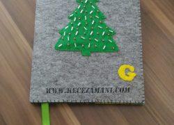 Yılbaşı Ağacı Keçe Kitap Kılıfı