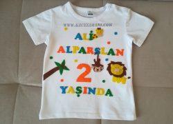 Keçe İşlemeli Safari Doğum Günü Tişörtü (Ali Alparslan)