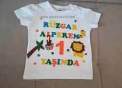 Keçe İşlemeli Safari Doğum Günü Tişörtü (Rüzgar Alperen)