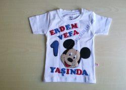 Keçe İşlemeli Mickey Mouse Doğum Günü Tişörtü(Erdem Vefa)