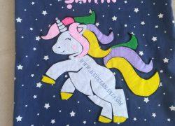 Keçe İşlemeli Yedek Kıyafet Torbası (Unicorn)
