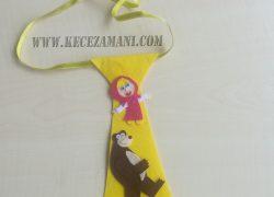 Keçe İşlemeli Maşa ve Koca Ayı Kravat