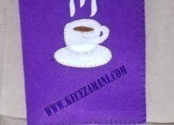 Keçe İşlemeli Kitap Kılıfı Kahve Fincanı