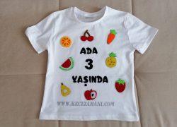 Keçe İşlemeli Meyve Doğum Günü Tişört