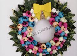 Çiçek Çelenk Fiyonklu Kapı Süsü