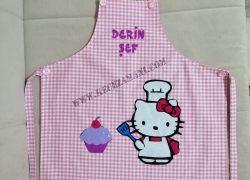 Keçe İşlemeli Masterchef Çocuk Mutfak Önlüğü(Hello Kitty)