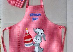Keçe İşlemeli Masterchef Çocuk Mutfak Önlüğü ve Şef Şapkası(Erdem)
