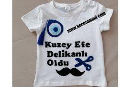 Keçe İşlemeli Kuzey Efe Delikanlı Oldu Tişörtü