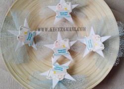 Keçe Beyaz Yıldızlı Sticker Bebek Şekeri