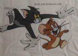 Keçe İşlemeli Tom ve Jerry Battaniye Yastık Takımı