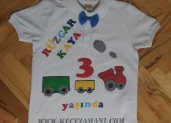 Keçe İşlemeli Trenli Doğum Günü Tişörtü