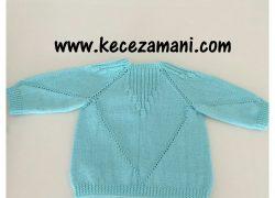 Mavi Bademli Bebek Hırkası
