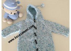Çilli Mavi Tek Şiş Örgü  Kapüşonlu  Bebek Hırkası
