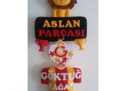 Keçe Galatasaray Aslan Parçası Formalı Kapı Süsü