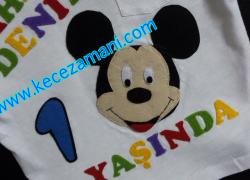 Keçe İşlemeli Mickey Mouse Doğum Günü Tişörtü(Ahmet Deniz)