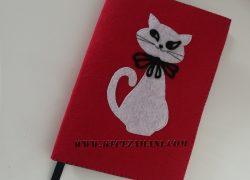 Keçe İşlemeli Kedi Kitap Kılıfı