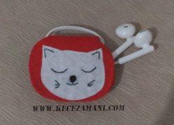 Keçe Kedi Desenli Kulaklık