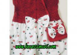 Kiraz Desen Kırmızı  Elbise