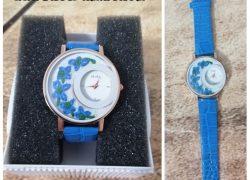 Mavi Nakış İşlemeli Saat (Saatimiz çalışmaktadır. )