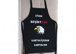 Keçe İşlemeli Duck Kumaş Beşiktaş Taraftar Mutfak Önlüğü