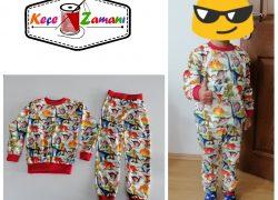 Dinozor Desen Penye Pijama Takımı