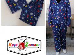 Pazen Pijama Takımı Önden Düğmeli (Uzay Desen)